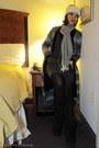 black snow boots Bass boots - heather gray Alexander Wang dress - heather gray H