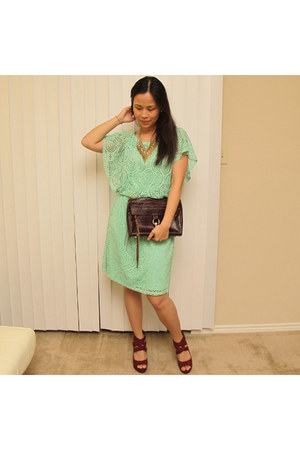 crimson mac Rebecca Minkoff bag - aquamarine eyelet Elle &amp; Michelle dress