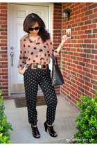 peach sheer polka dto Forever 21 blouse - black medallion tote Chanel bag