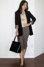 Beige-mango-top-green-mango-pants-brown-ysl-shoes-black-chanel-purse-gol