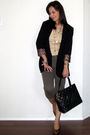 beige Mango top - green Mango pants - brown YSL shoes - black Chanel purse - gol