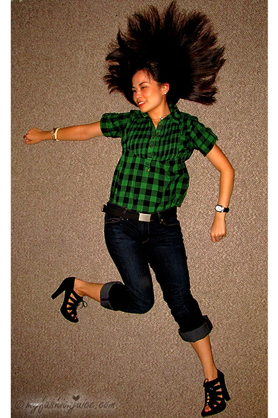 green Forever 21 blouse - blue Rich & Skinny Jeans jeans - black Dolce Vita shoe