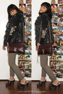 dark brown Rebecca Minkoff bag - dark brown Bamboo clogs - dark khaki H&M pants
