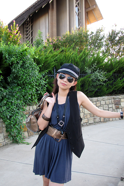 Badgley Mischka hat - Forever 21 vest - Forever 21 necklace - Target sunglasses