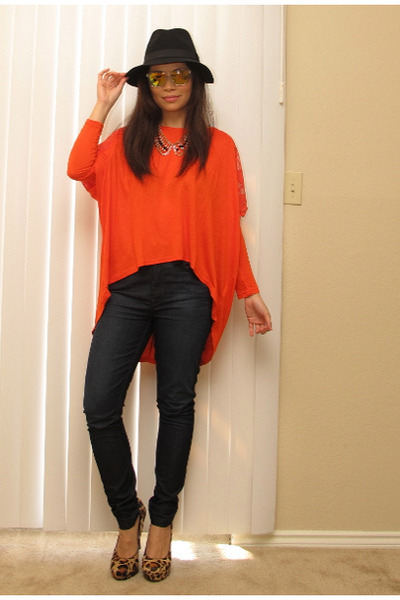 carrot orange top - navy skinny 7 for all mankind jeans