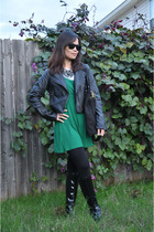 Forever 21 jacket - franco sarto boots - tory burch purse - Forever 21 tights -