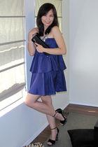 purple Blaque Label dress - black Hale Bob shoes - black Gucci purse - silver Ad