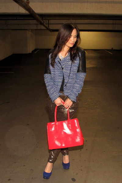 red tomato red tote talbots bag - blue Zara jacket - gold harem Zara pants