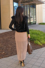 Dark-brown-louis-vuitton-bag-peach-forever-21-skirt