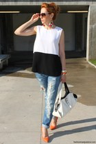 ethno H&M earrings - Zara shoes - ragged Sisley jeans - Valentino sunglasses