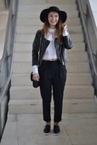 black H&M hat - black Zara pants