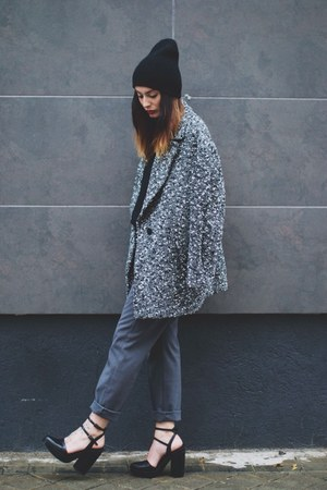 gray H&M coat - gray Zara pants