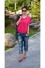 Zara-jeans-gray-zara-jacket-hot-pink-zara-shirt