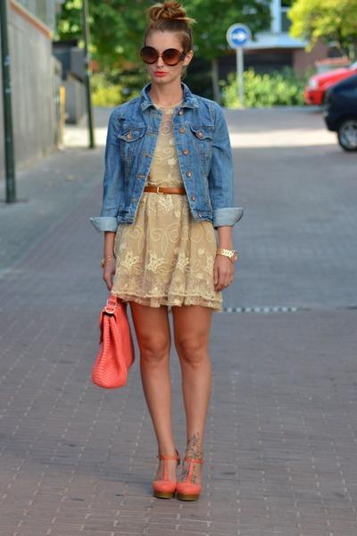 peach Zara dress - blue BLANCO jacket - bubble gum BLANCO bag