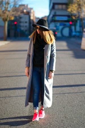 gray Sheinside coat - nike sneakers