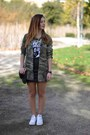 Green-zara-shirt-white-converse-sneakers-black-h-m-skirt