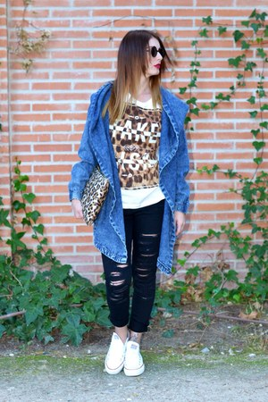 blue Ebay jacket - black BLANCO jeans - Converse sneakers
