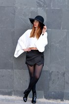 black Zara shoes - black Zara hat - white Zara top