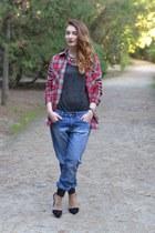 blue H&M jeans - black Zara shoes - red Zara shirt