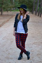 black Zara hat - tino gonzales boots - black Zara jacket - white Lefties t-shirt