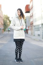 black tights - black nike sneakers - silver Zara sweatshirt
