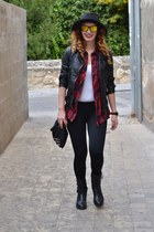 black Zara boots - red Zara shirt