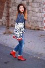 Red-zara-boots-blue-zara-jeans-blue-blanco-shirt