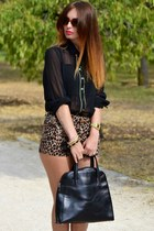 black BLANCO shirt - black Cats bag - brown leopard print BLANCO shorts