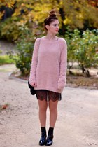 light pink Lefties jumper - black Zara shoes - black Zara dress