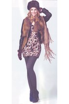 faux fur Savoir vest - platforms Office boots - leopard print Love Label dress