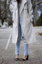 silver H&M coat - sky blue Forever 21 jeans - silver long sleeve H&M sweater