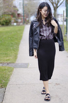 black motorcycle Zara jacket - purple plaid Prada shirt