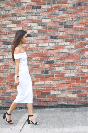 black ankle strap Zara heels - white off shoulder Zara dress