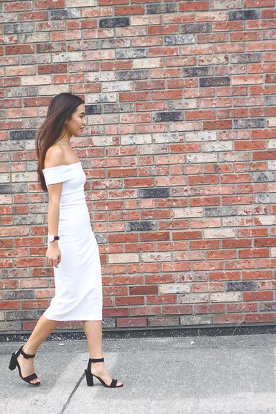 black ankle strap Zara heels - white off shoulder Zara dress