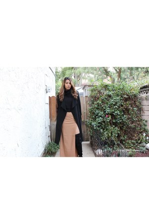 black trench Forever 21 coat - thigh high calvin klein boots