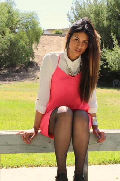 pink Forever 21 dress - leather strap Zara heels