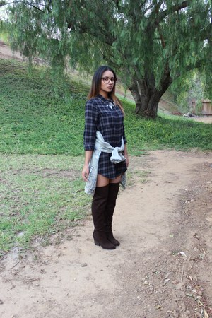 Forever 21 top - thigh high H&M boots - denim shirt Urban Outfitters jacket