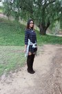 Thigh-high-h-m-boots-denim-shirt-urban-outfitters-jacket-forever-21-top