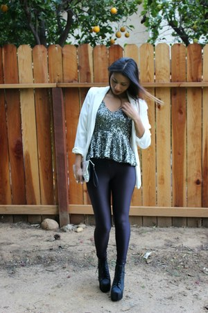 white Forever 21 blazer - distressed lita Jeffrey Campbell boots