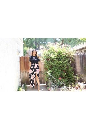 floral Forever 21 skirt - graphic tee Zara blouse