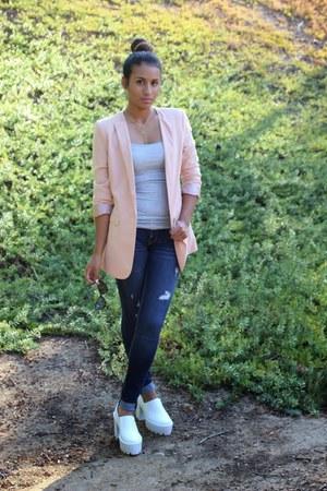 Forever 21 blazer - hollister jeans - myfirst wish heels