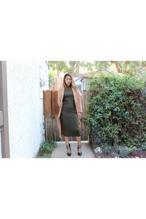 camel Sheinside coat - olive midi GoJane dress - laceup Forever 21 heels