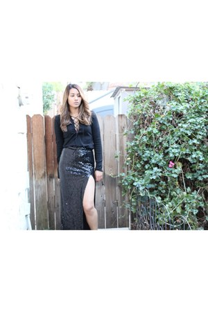 sequin maxi Missguided skirt - lace up Sheinsidecom blouse