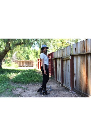 gray Forever 21 hat - Zara boots - lace up Forever21 blouse