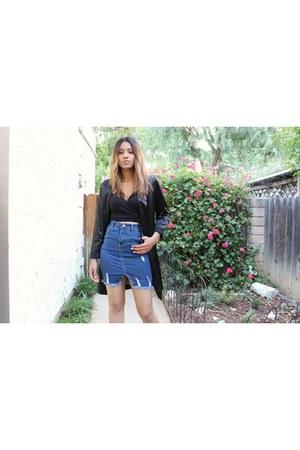 ego boots - shiny Forever 21 blazer - distressed romwe skirt