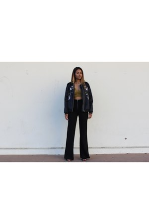 sammydress sweater - crop lace Missguided top - black flare Forever 21 pants