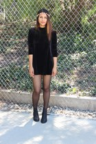 velvet tunic Urban Outfitters dress - flower crown Forever 21 accessories