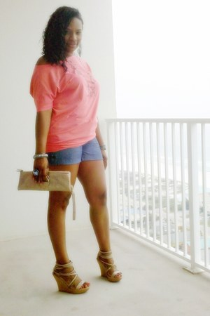 nude Express bag - Old Navy shorts - coral Express top - Forever 21 accessories