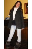 Stradivarius coat - Stradivarius jeans - Tommy Hilfiger boots - scarf