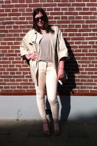 H&M coat - H&M pants - H&M cardigan - H&M necklace - Ebay heels